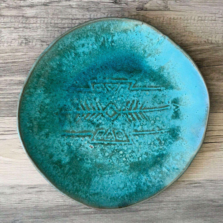 Ceramic plate turquoise color southwestern style modern dinnerware platter serving plate  sc 1 st  Pinterest & Ceramic plate turquoise color southwestern style modern ...