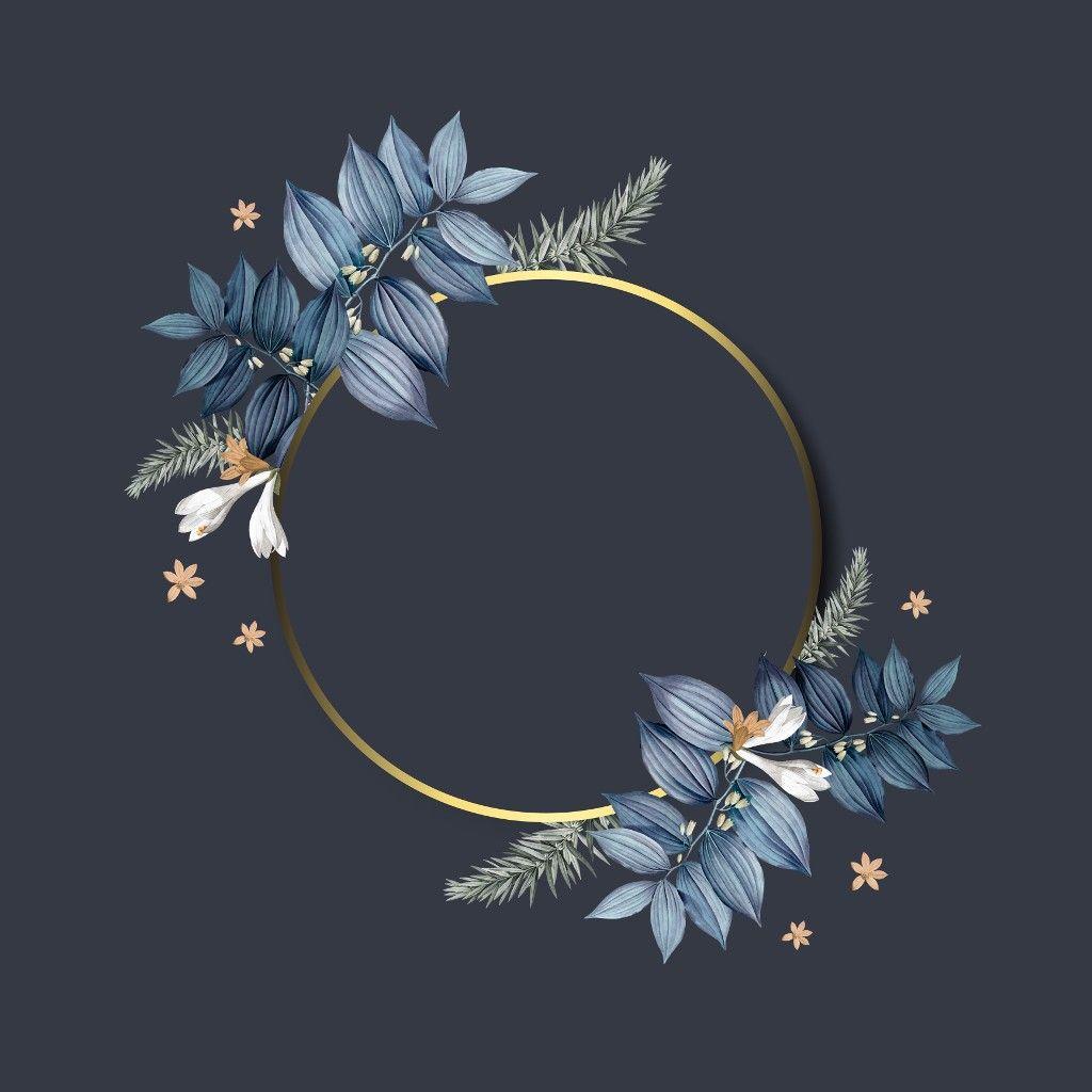 ثيم ازرق برواز ورد ورق Image By Um Saif Frame Design Flower Frame Frame
