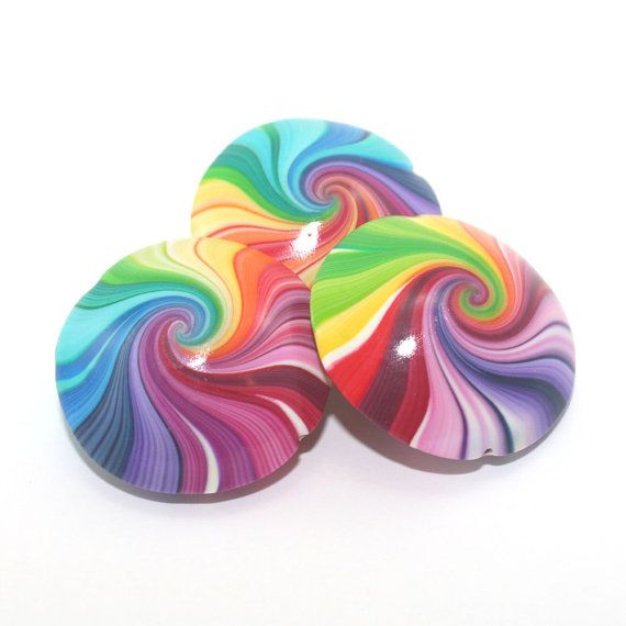 colorful swirl lentil beads with tiny silver dots polymer clay beads in rainbow colors Artisan beads 6 elegant beads for jewelry making