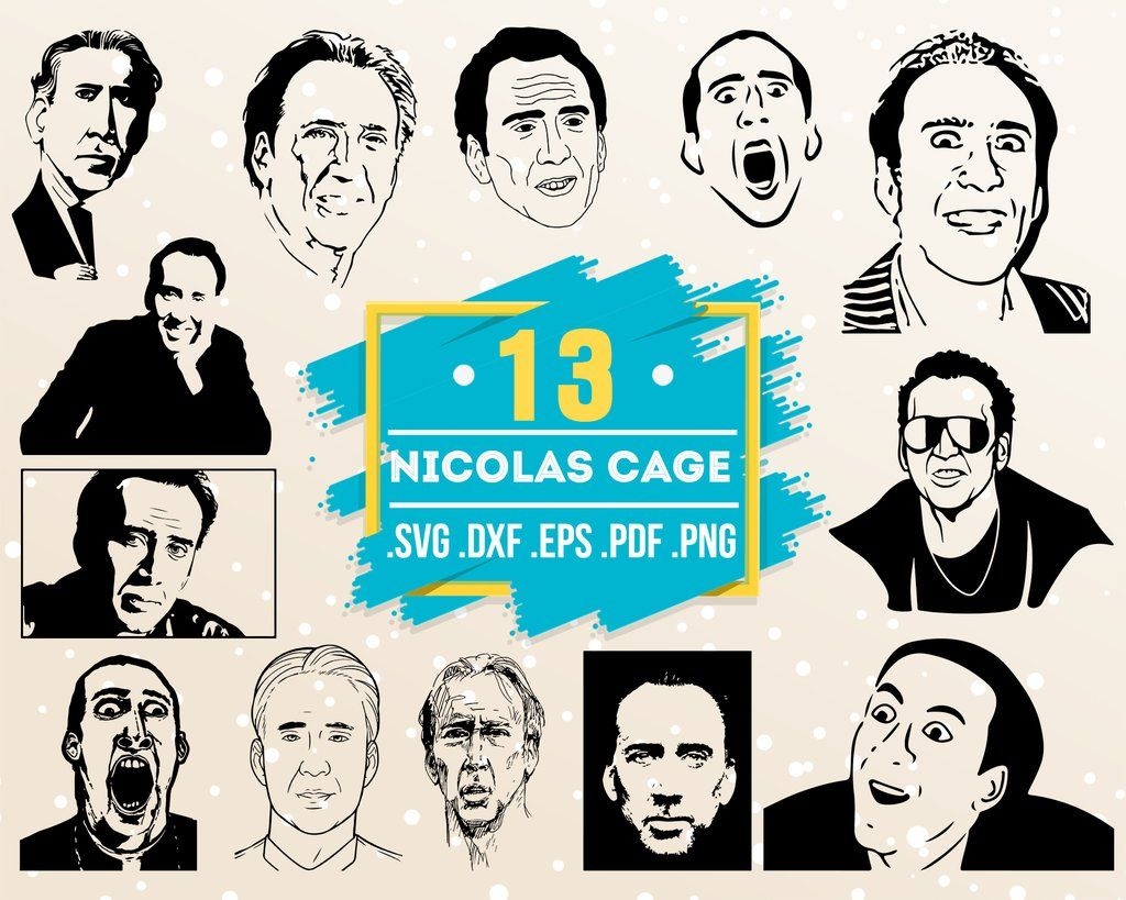 Nicolas Cage Svg Famous People Portrait Film Star Painting Celebrity Svg Print Art Portrait Art T Shirt Vector File Eps Dxf Svg Pdf Png Svg Business Design Marketing Materials