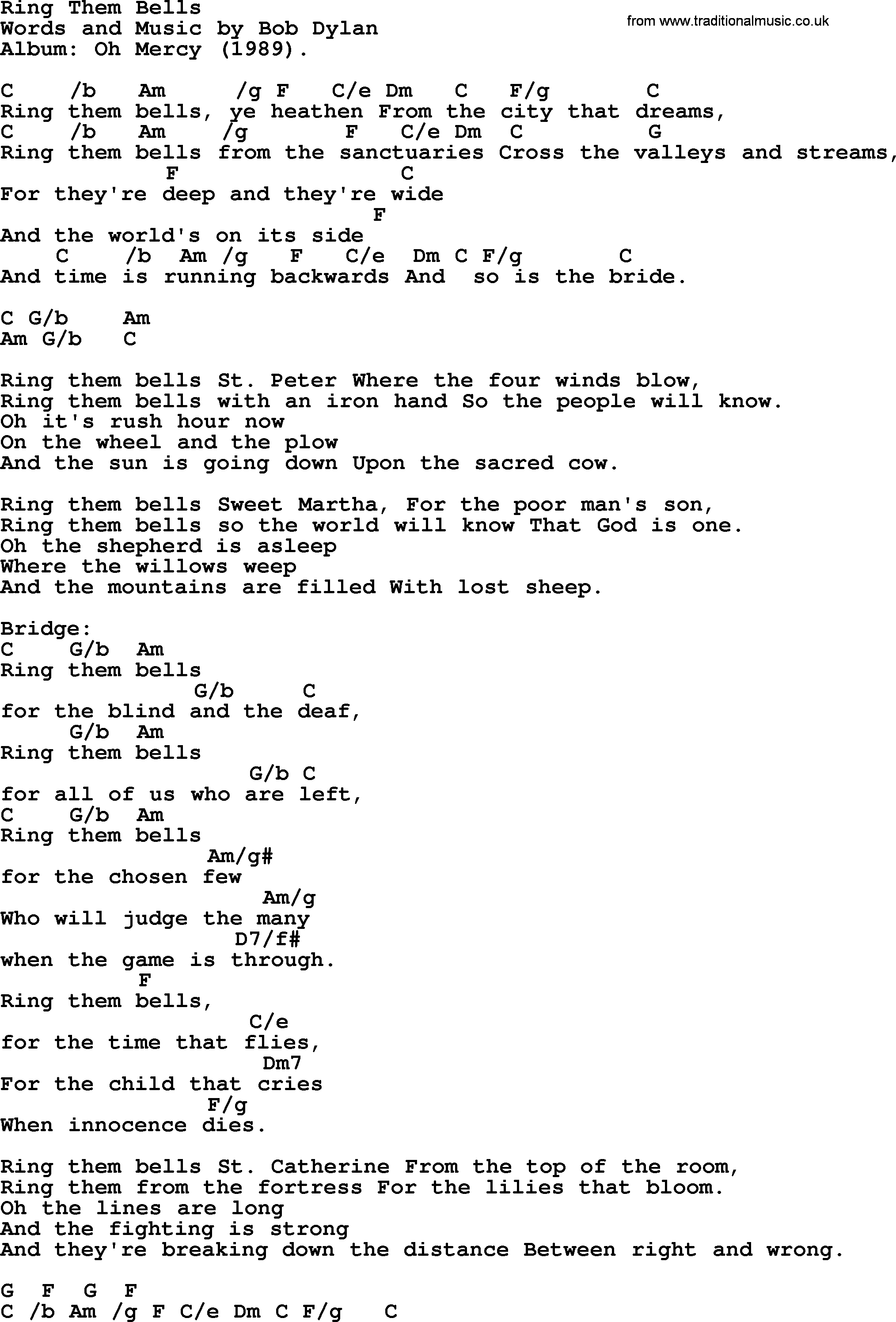 Bob Dylan song, lyrics with chords - Ring Them Bells