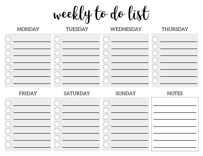 Weekly To Do List Printable Checklist Template DIY weekly to do