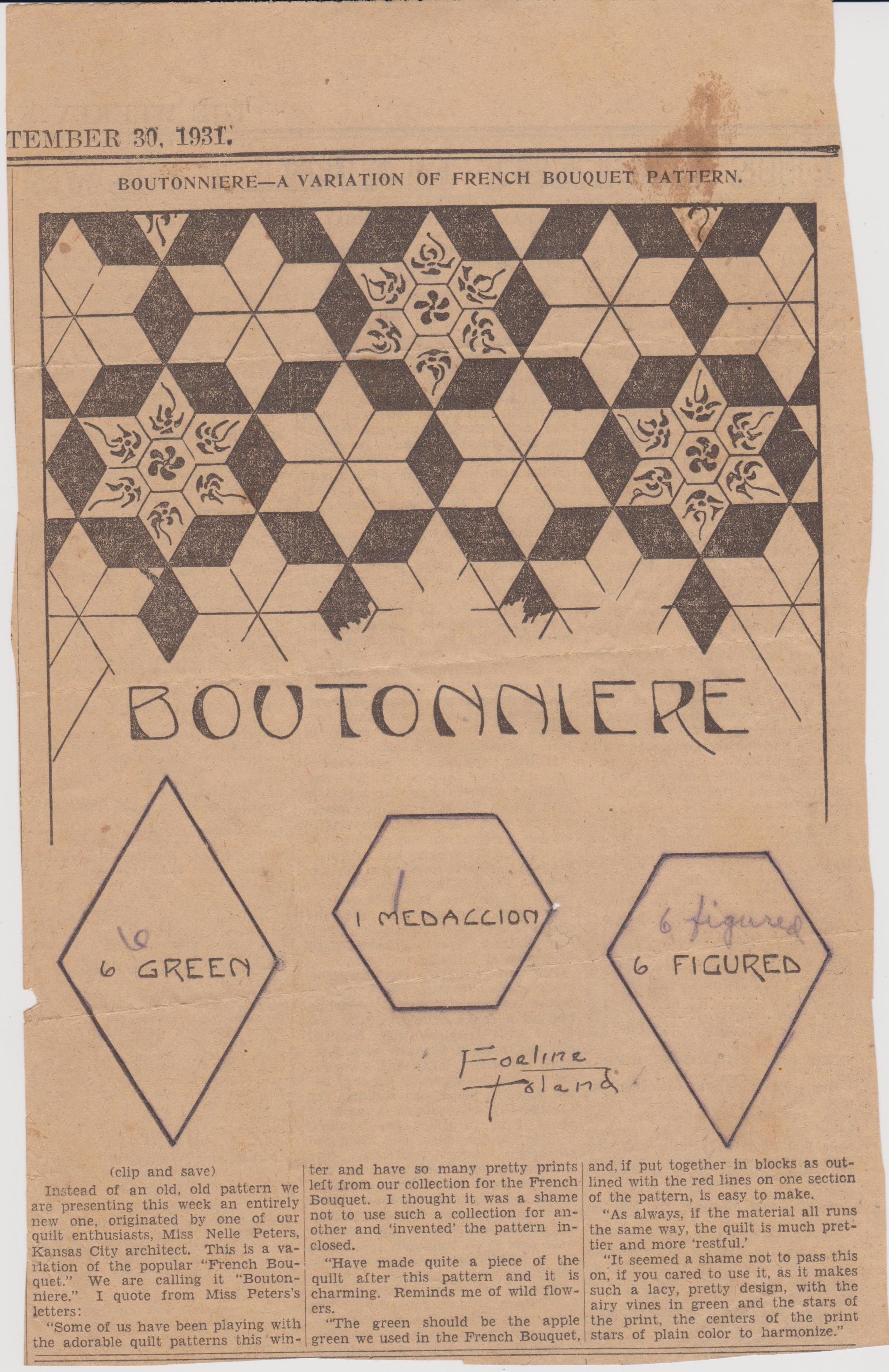 Boutonniere Quilt Pattern From The Weekly Kansas City Star