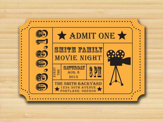 movie night party invitation  admission ticket  ticket