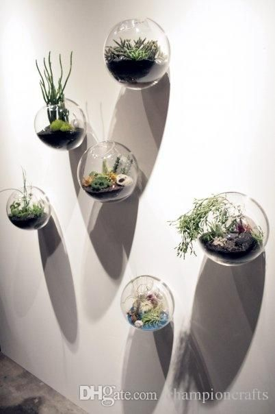Hanging Wall Glass Fishbowl Bread Shaped Wall Plant Flower Vase Wall Decor Home Decor House Ornaments Gifts For Friends Colorful Vases Cheap Coloured Glass Vase Plant Wall House Ornaments Hanging Vases