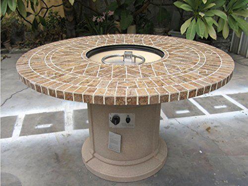 Gas Fireplace Fire Pit Outdoor, Porcelain Mosaic Tile 48u2033 Table, Patio,  Deck, Propane Line Or Tank 50,000 BTU, Tan Base