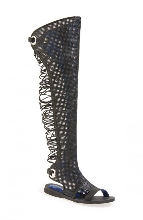 397db47a28ff Jeffrey Campbell Women s Batalla Over the Knee Gladiator Sandals ...