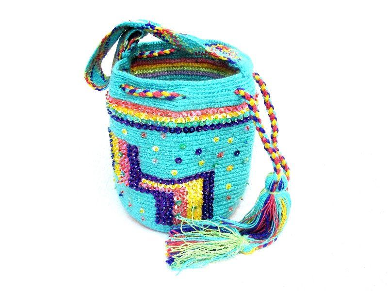Wayuu mochila paillette special edition turquoise handbag