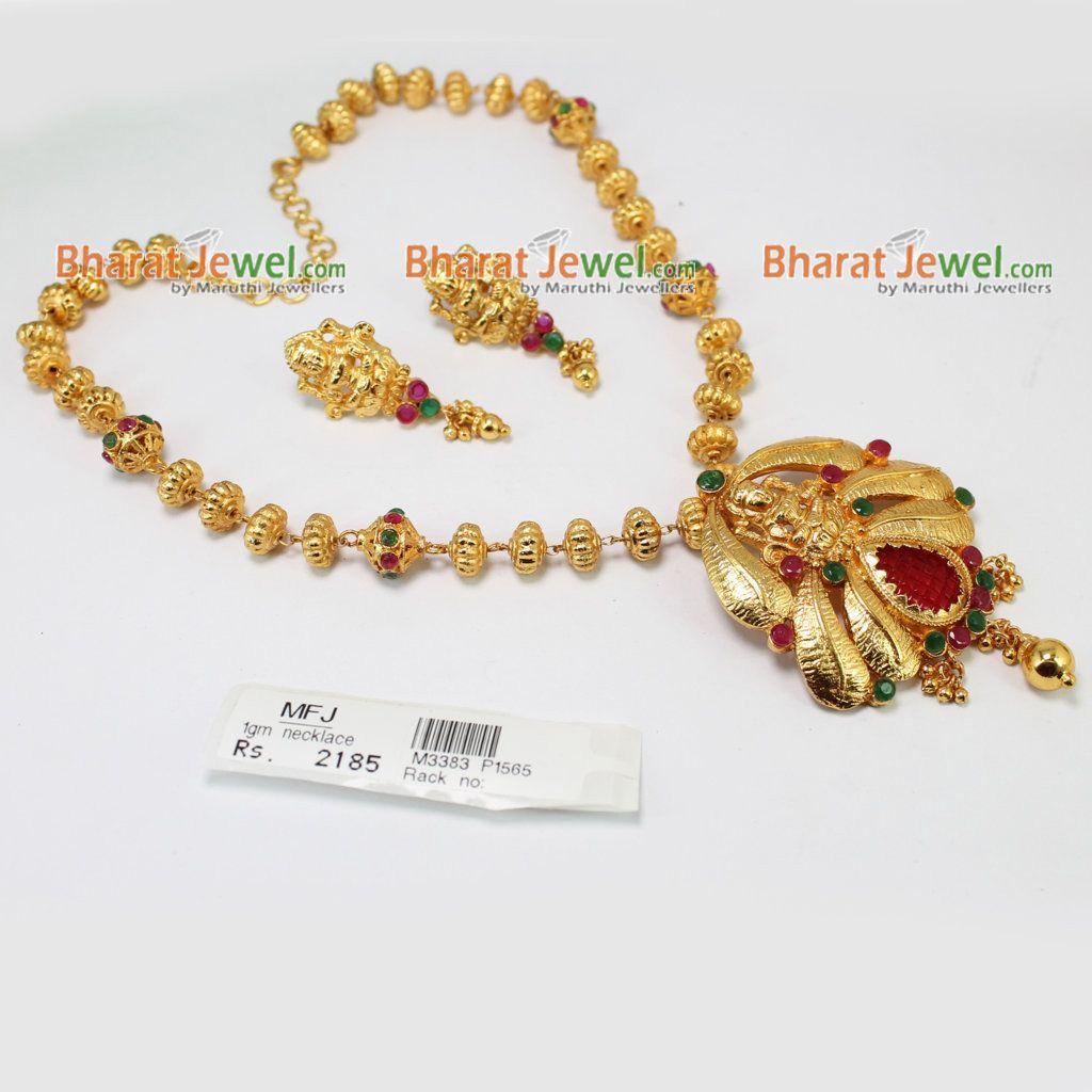 02308619789c2 1GM Gold Dip Ruby & Emerald Stone Lakshmi Necklace Online ...
