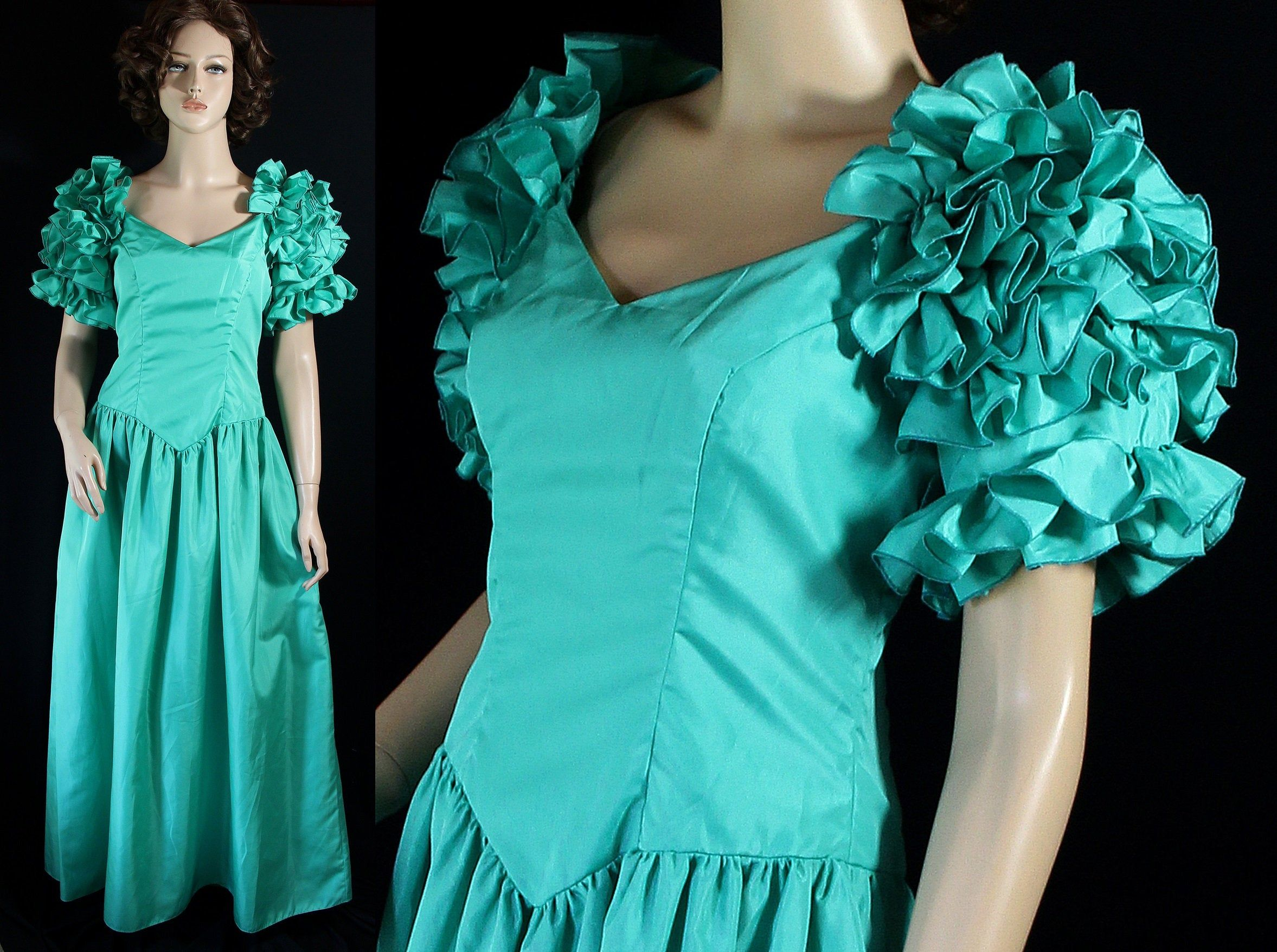 80 Prom Dress, Party, Costume, Southern Belle, Off