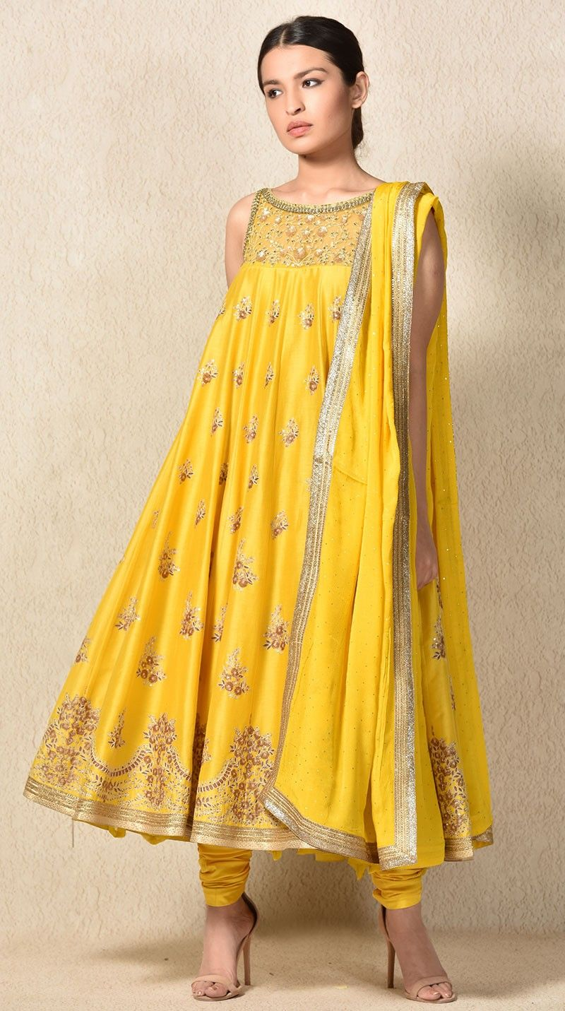 Buy indian designer yellow flared and embroidered kurta