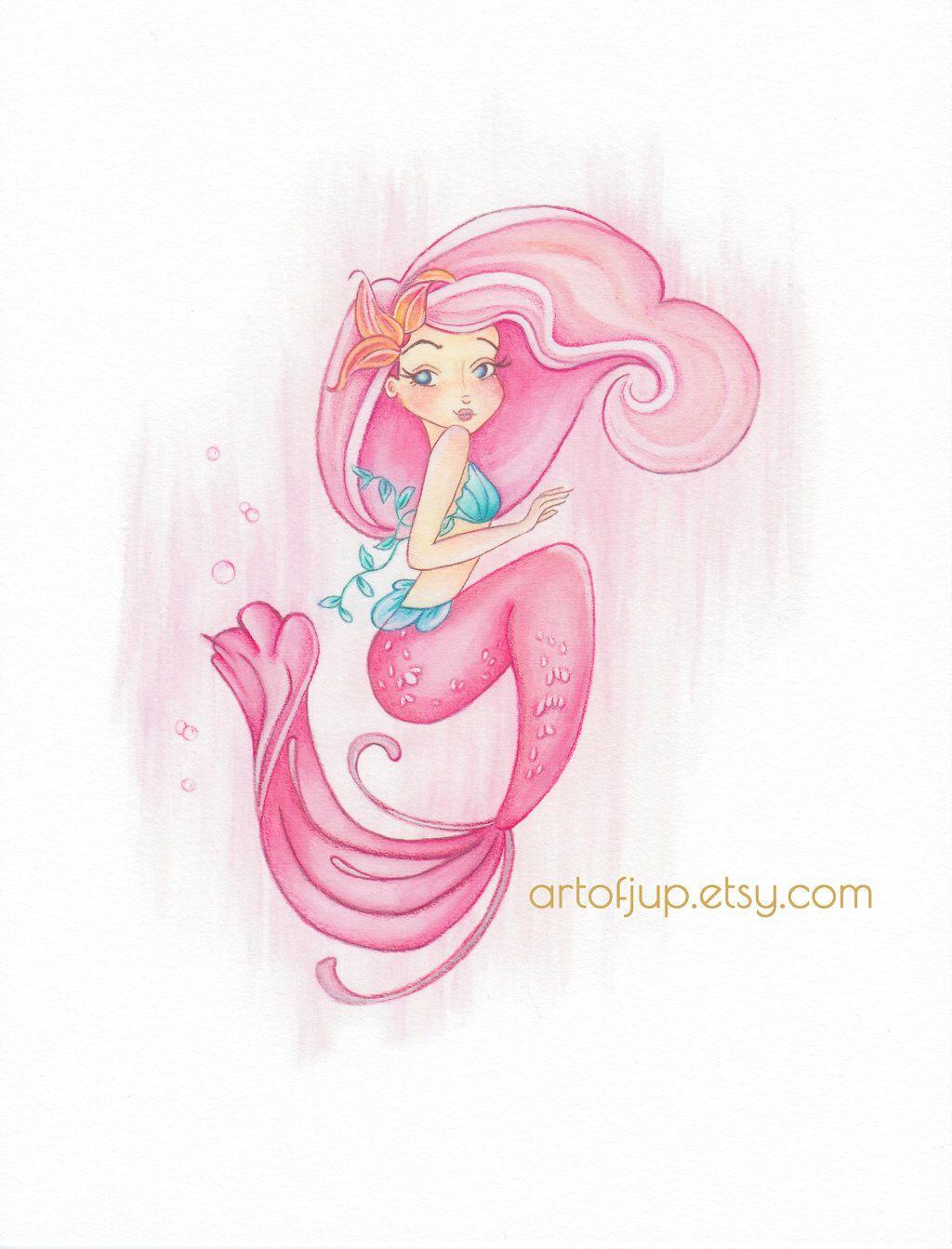 Mermaid Art Print Decor Rose Wall Pink By