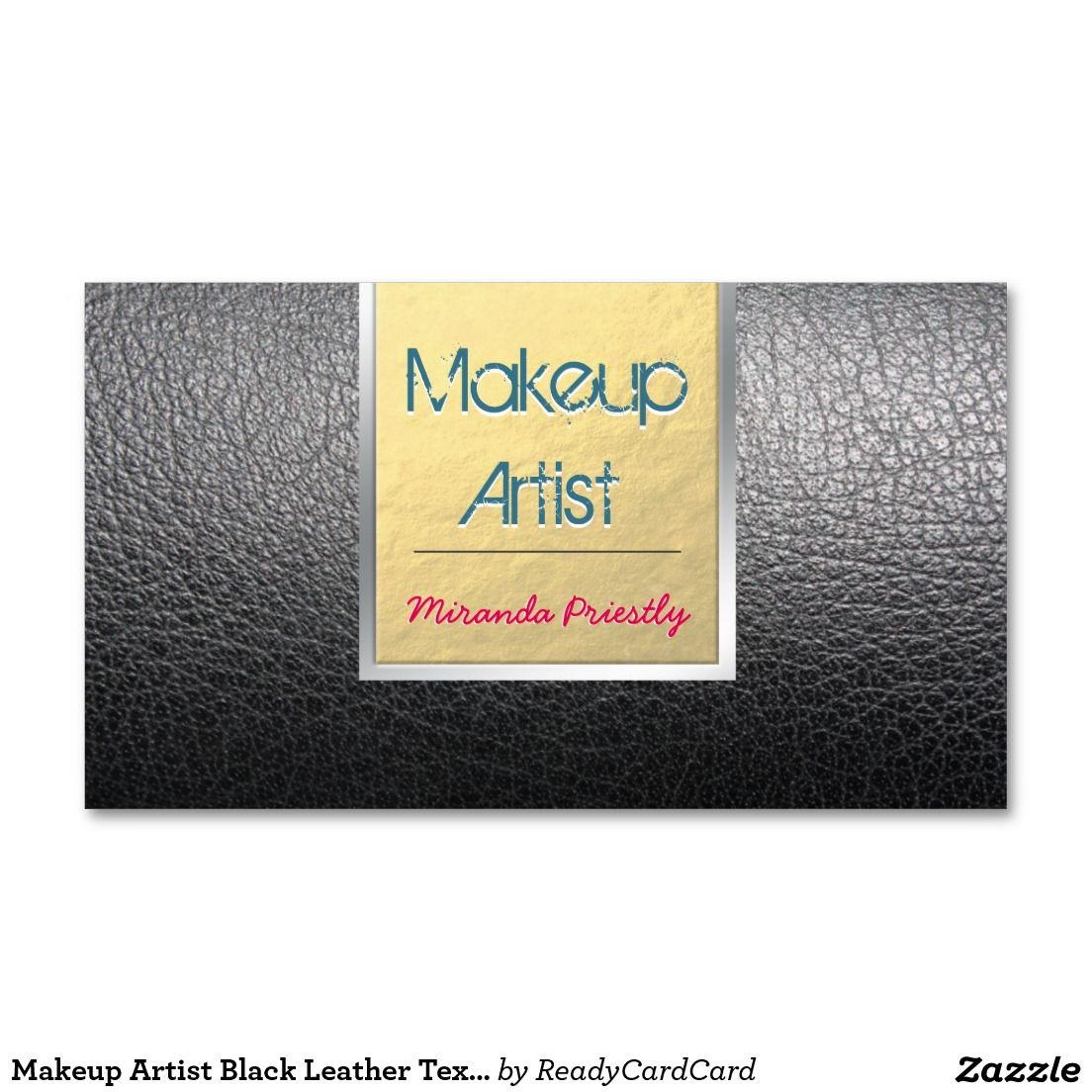Makeup Artist Black Leather Texture Gold Strip Appointment Card