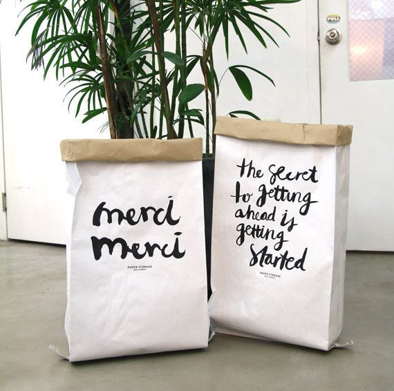Merveilleux Kraft Paper Bag [merci] / Paper Storage Sack / Storage Of Toys Books /