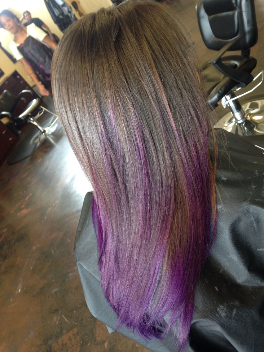 Brown Hair With Purple Ends Ombr Balayage Highlights Natural Hair