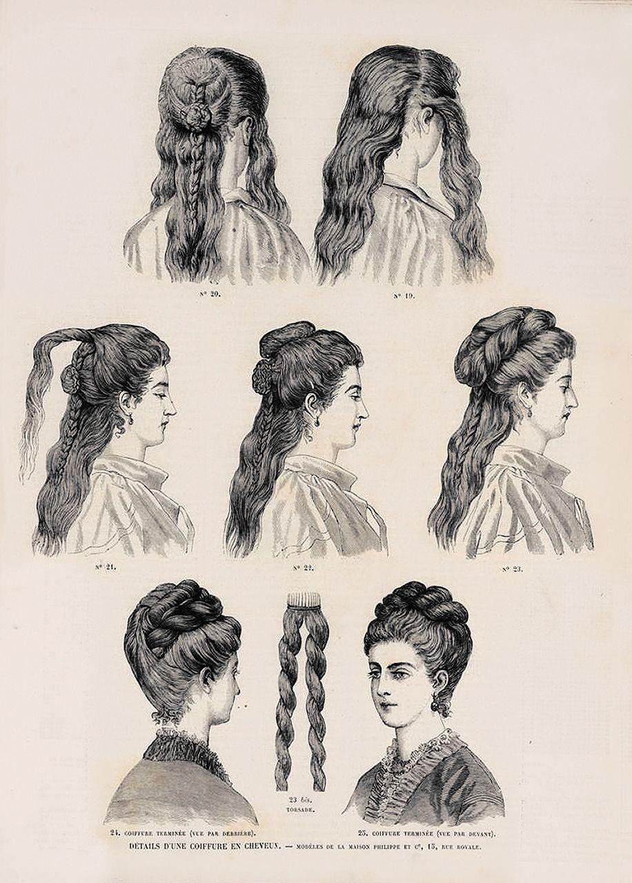 Decimonono 1873 Revue De La Mode Details D Une Coiffure En Cheveux Modeles De La Maison P Edwardian Hairstyles Historical Hairstyles Victorian Hairstyles