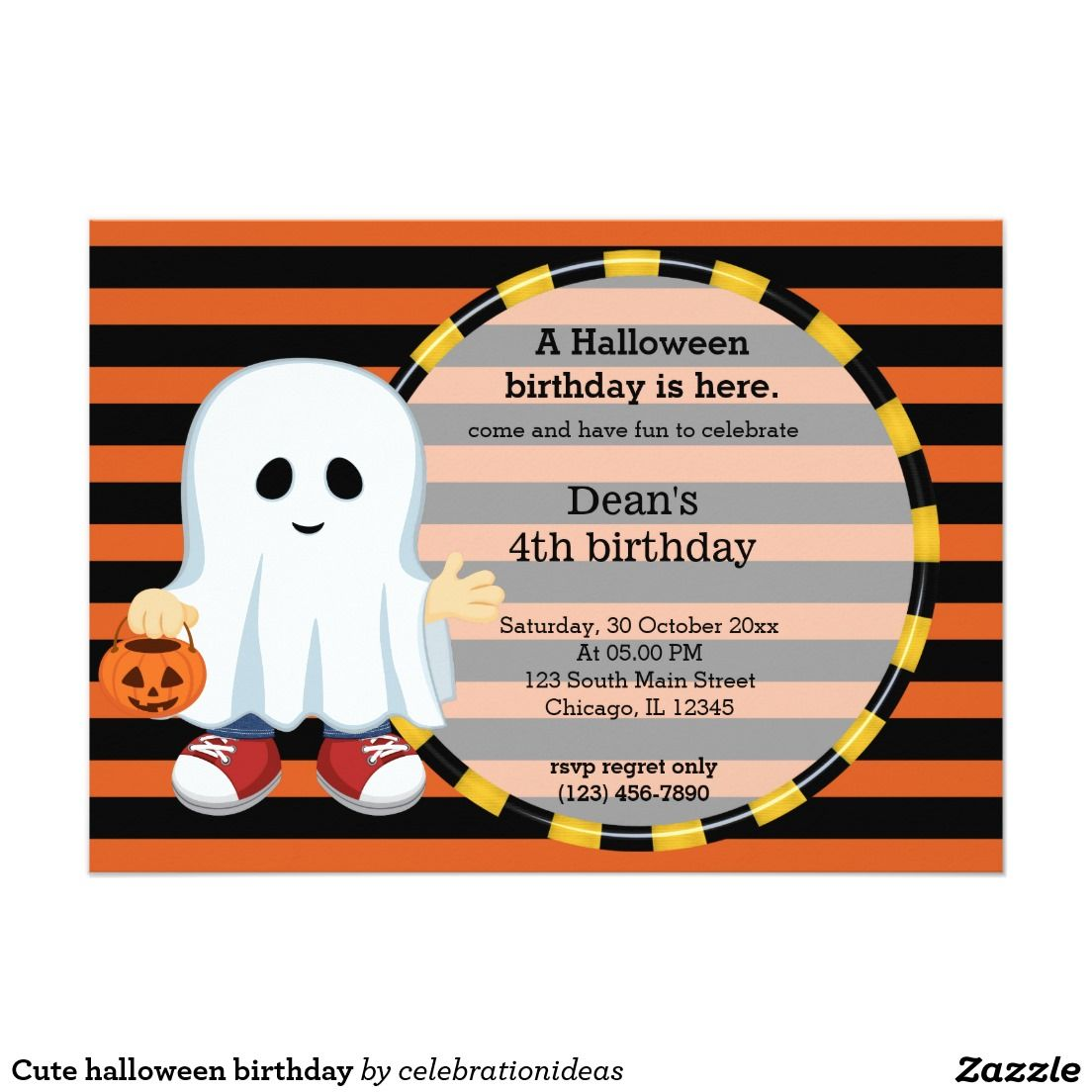 #zazzle Sold this #halloween #kids #birthday #ghost #invitations to Switzerland.  Thanks for you who purchased this. Check more at www.zazzle.com/celebrationideas/halloween+birthday