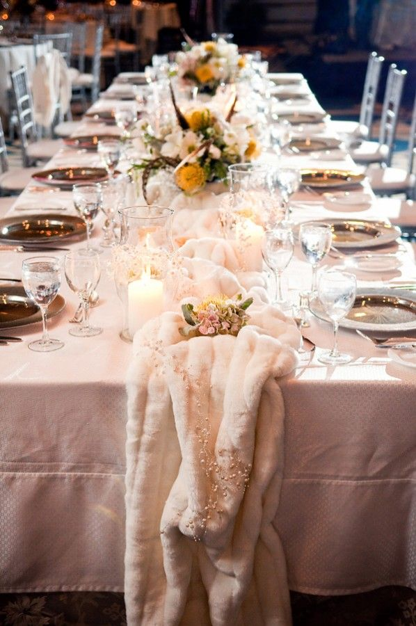 Estate Table With Wintry Faux Fur Table Runner Great