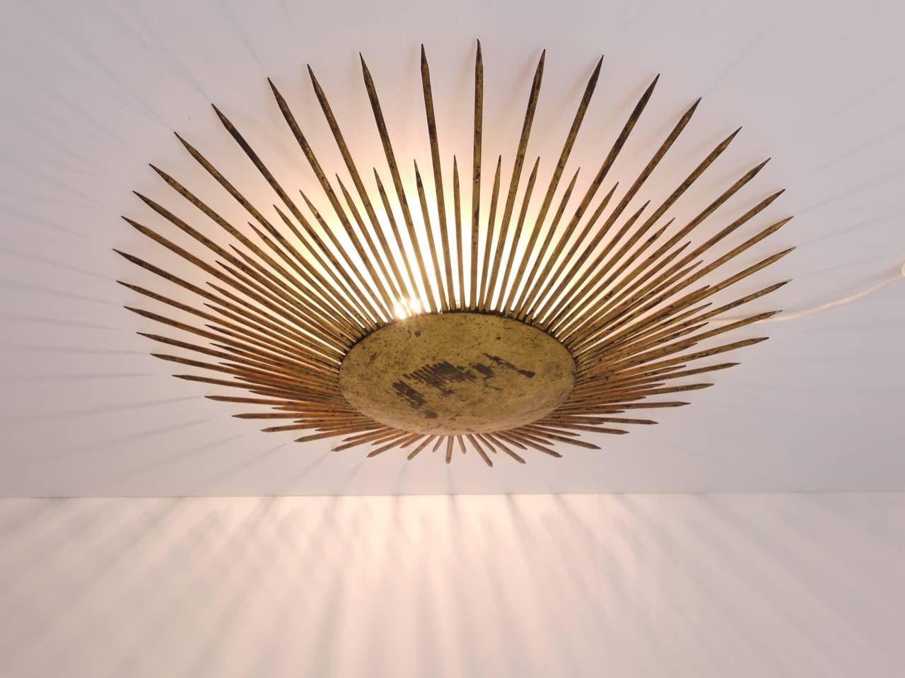 Plafoniere Smart : French sunburst starburst flush mount plafoniere ceiling lamp gilt