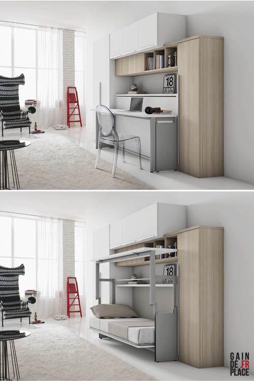 un bureau plut t design pour un lit escamotable hair pinterest wall beds smart furniture. Black Bedroom Furniture Sets. Home Design Ideas