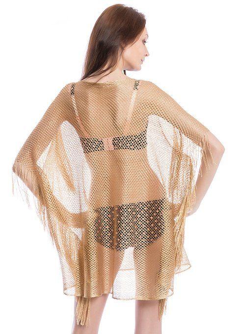 e9acb33dc7 NISHAER Women Beach Style Fringe Mesh Tunic Lace Swimsuit Cover Up Gold at  Amazon Women's Clothing store: