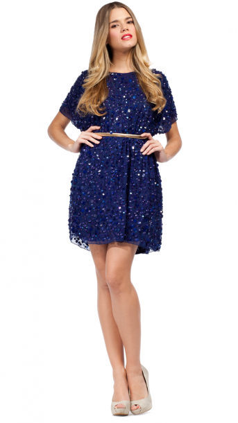 Vestido de lentejuelas azul marino