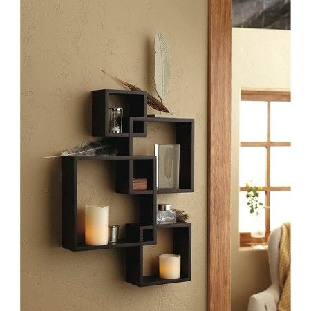 Interlocking Display Shelf With 2 Led Candles Espresso