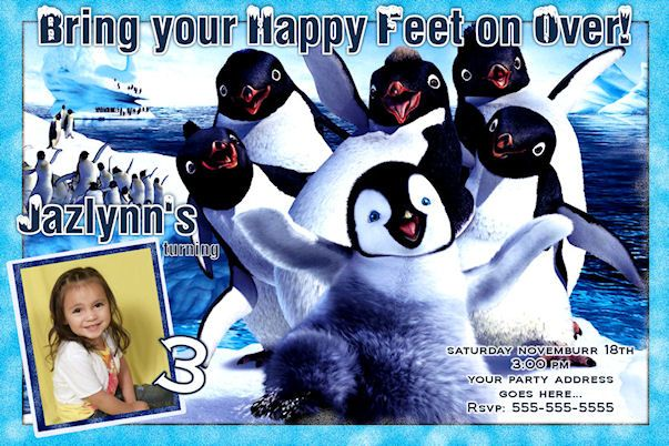Happy Feet Birthday Invitation