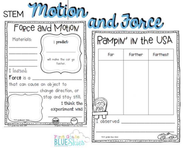 Stem Force And Motion Freebie First Grade Blue Skies Force And Motion First Grade Science Elementary Science