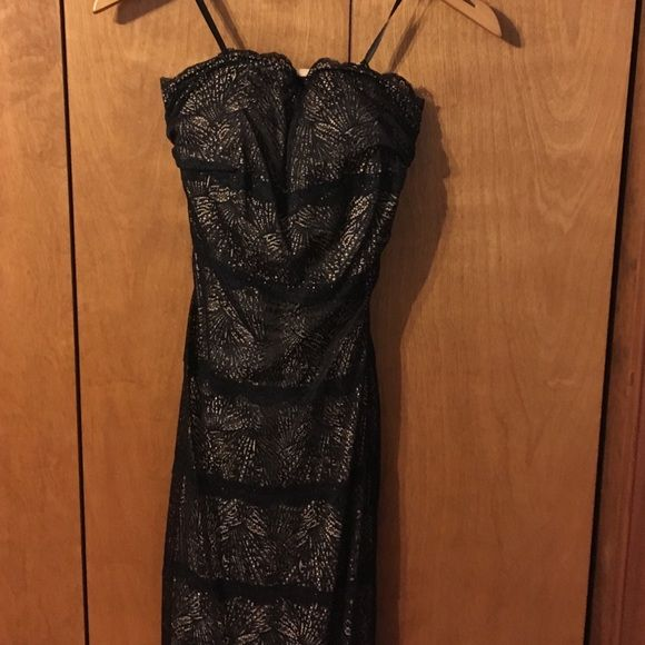✨Strapless lace midi dress✨ Scalloped strapless neckline. Dress lays flat against body. Gorgeous and like new. Wore once. bebe Dresses Midi
