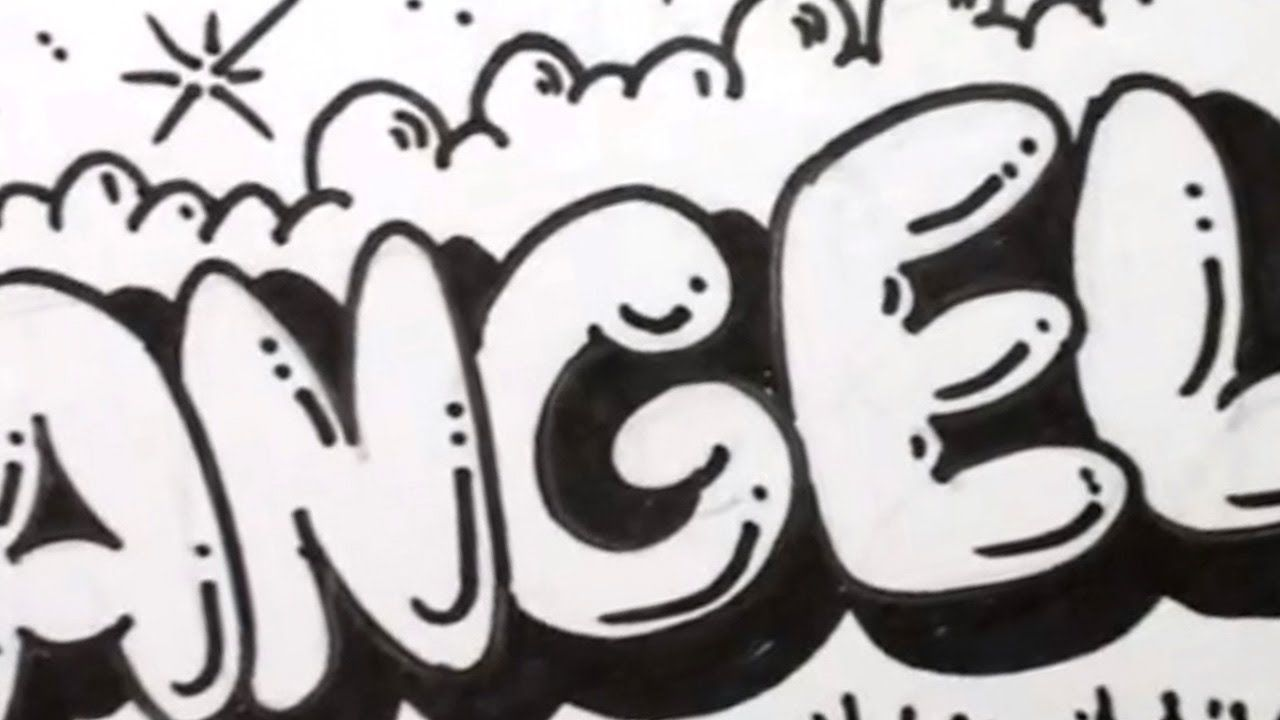Coloring Pages Bubble Letters : How to draw bubble letters angela in graffiti letters comics