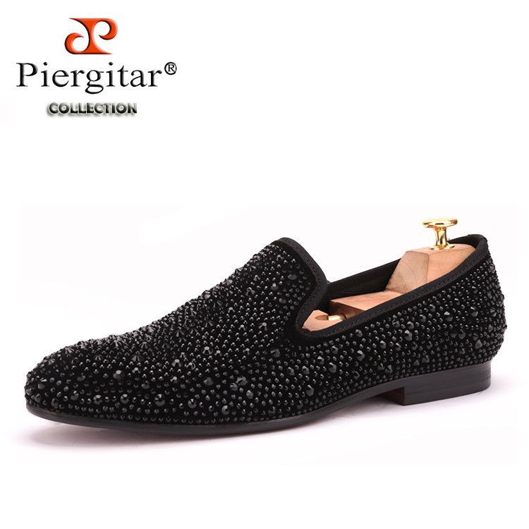c89083379d80 Men Black Crystal shoes GZ same paragraph shoes 2016 New Suede Genuine  Leather Fashion Men s Flats Prom male loafers Size 4-17