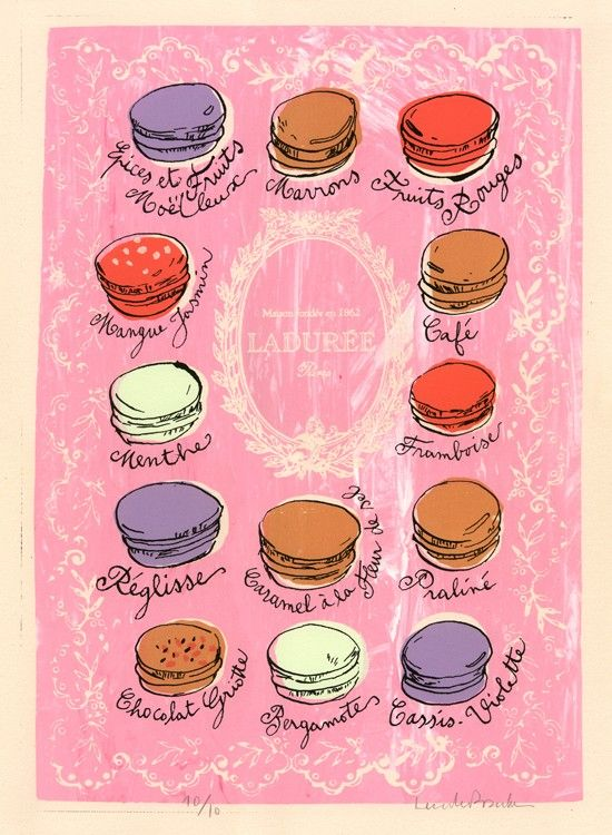 Macarons - 16 X 20 Screen Printed Poster - Bubble gum pink - Limited edition. $40.00, via Etsy.