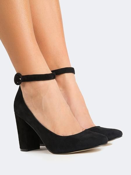 Black suede chunky heels with an ankle