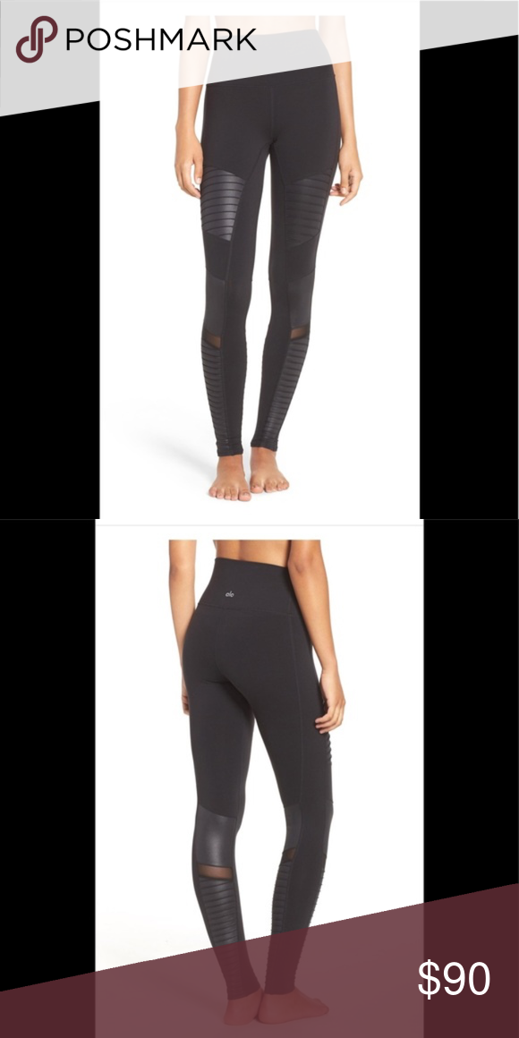 de98a3671a ALO HIGH WAISTED MOTO LEGGINGS in great condition, I wore them maybe 5  times they are just too big on me ALO Yoga Pants Leggings