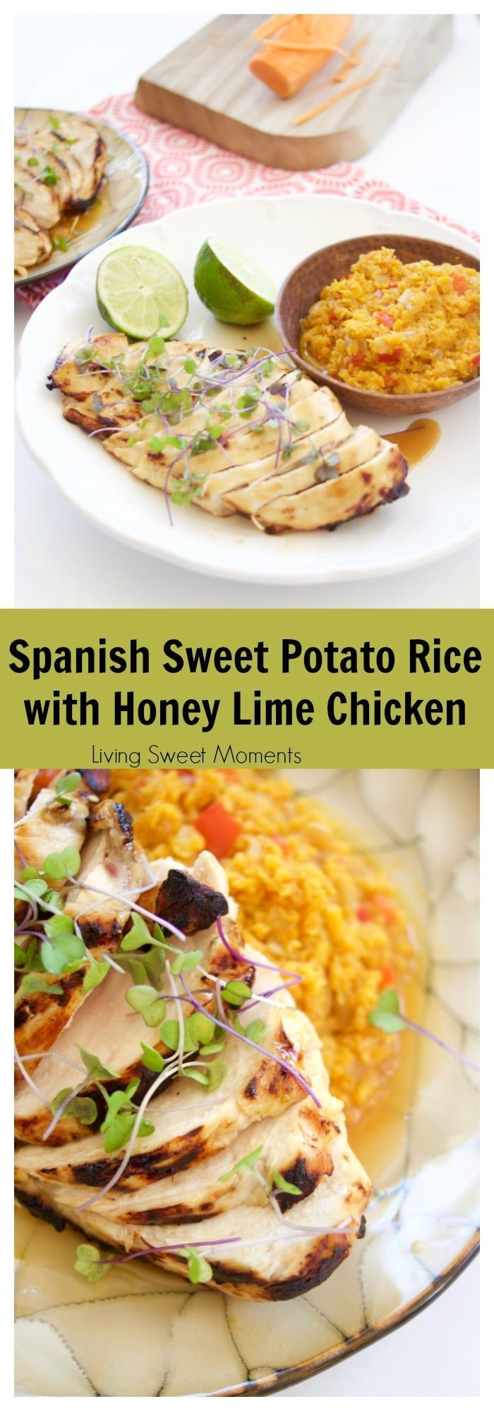 Spanish Sweet Potato Rice with Honey Lime Chicken #honeylimechicken Spanish Sweet Potato Rice with Honey Lime Chicken (Passover, GF) via @Livingsmoments #honeylimechicken