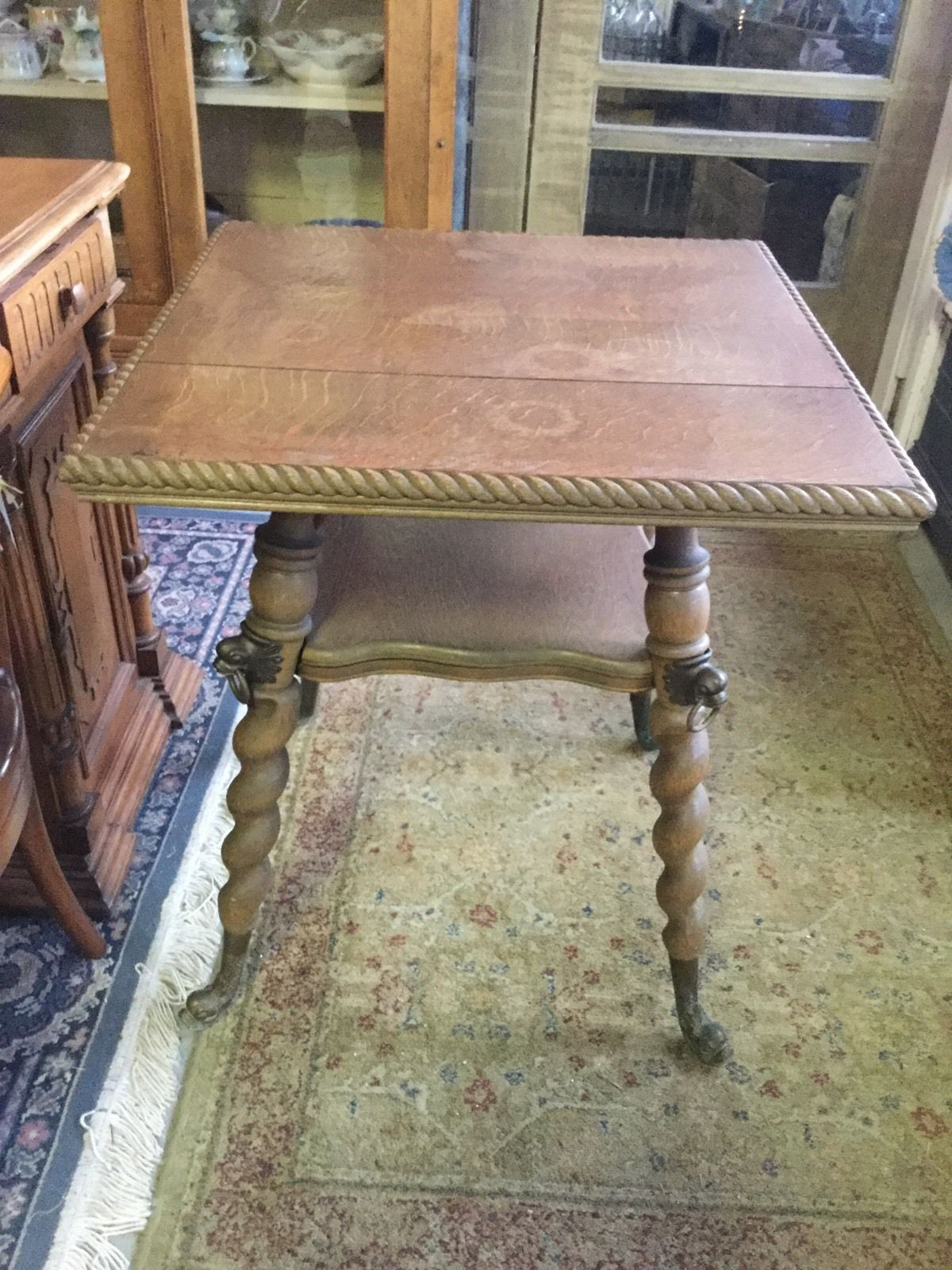 Antique Quartersawn Oak Parlor Table Barley Twist Legs Brass
