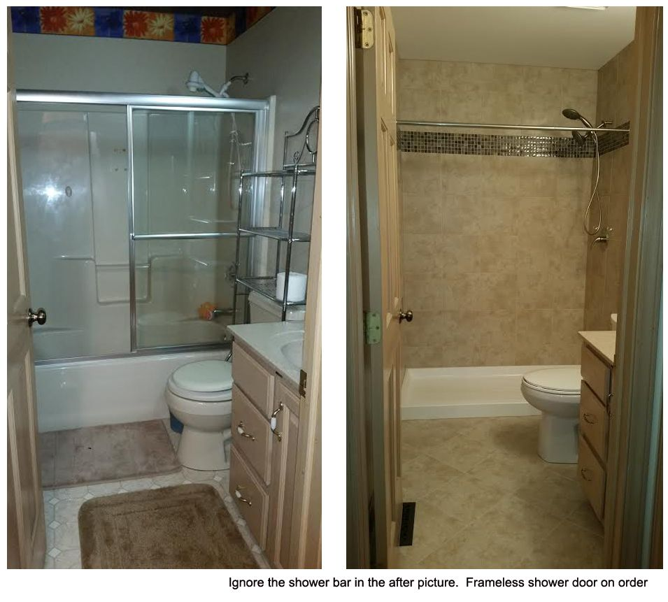 Small Bathroom With Frameless Shower: Small / Tiny Bath Remodel. Tub To Shower Conversion