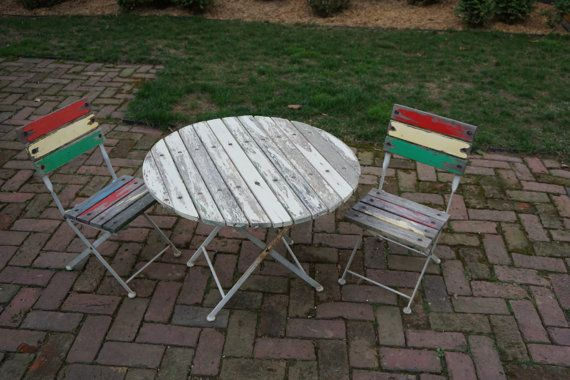 Slatted Wood And Metal Patio Table