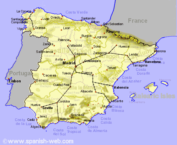 Detailed Map Of East Coast Of Spain.Spain Showing High Speed Rail Network Getting Around Spain In 2019