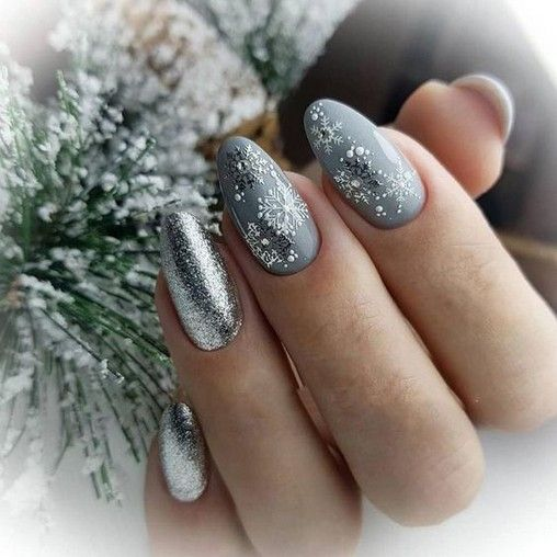 38+ Pretty French Nails Nagel Winter and Christmas Nails Art Designs Ideas