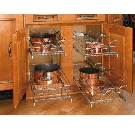 Double Tier Chrome Wire Kitchen Pullouts 12x22 Independently Sliding Double Wire  Pull Out Baskets