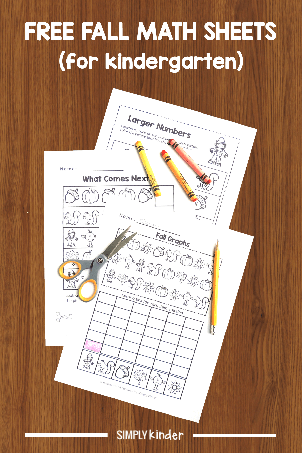Free Fall Math Worksheets To Use With Kinders