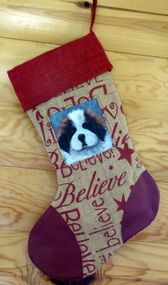 """Puppy Eyes""   Saint Bernard   Christmas Stocking By Dawn Johnson"