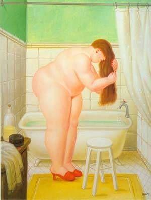 The Bathroom 1995 Paintings | Fernando Botero paintings