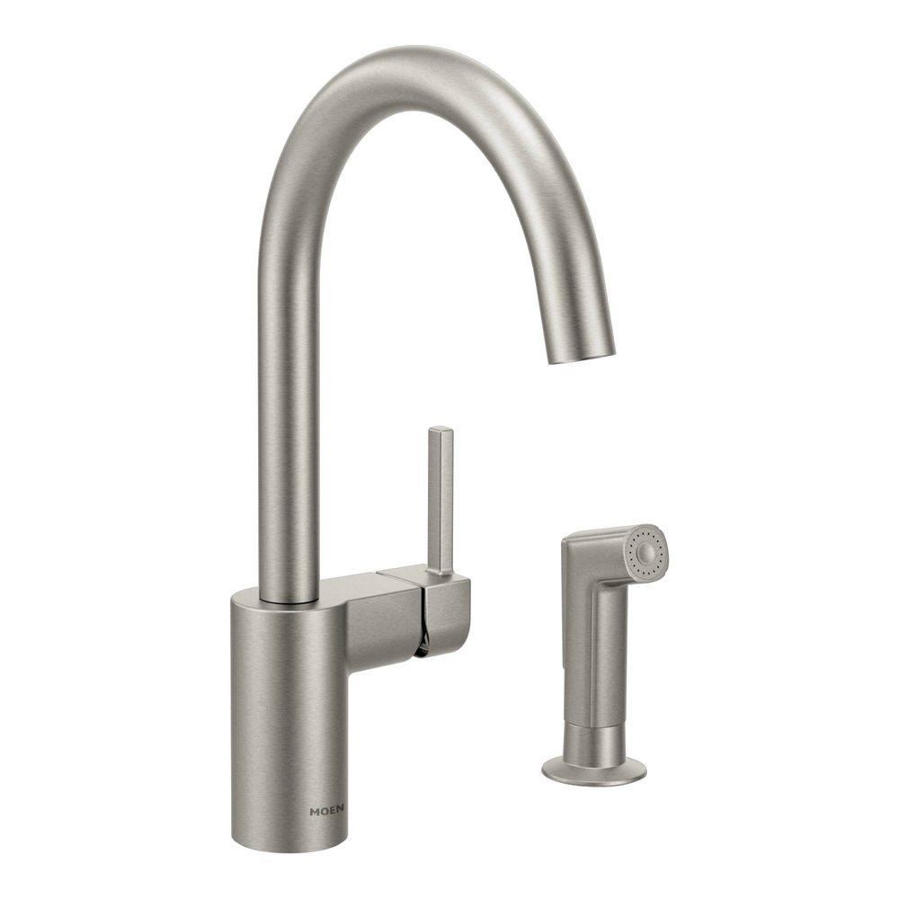 Moen Align Single Handle Standard Kitchen Faucet With Side Sprayer