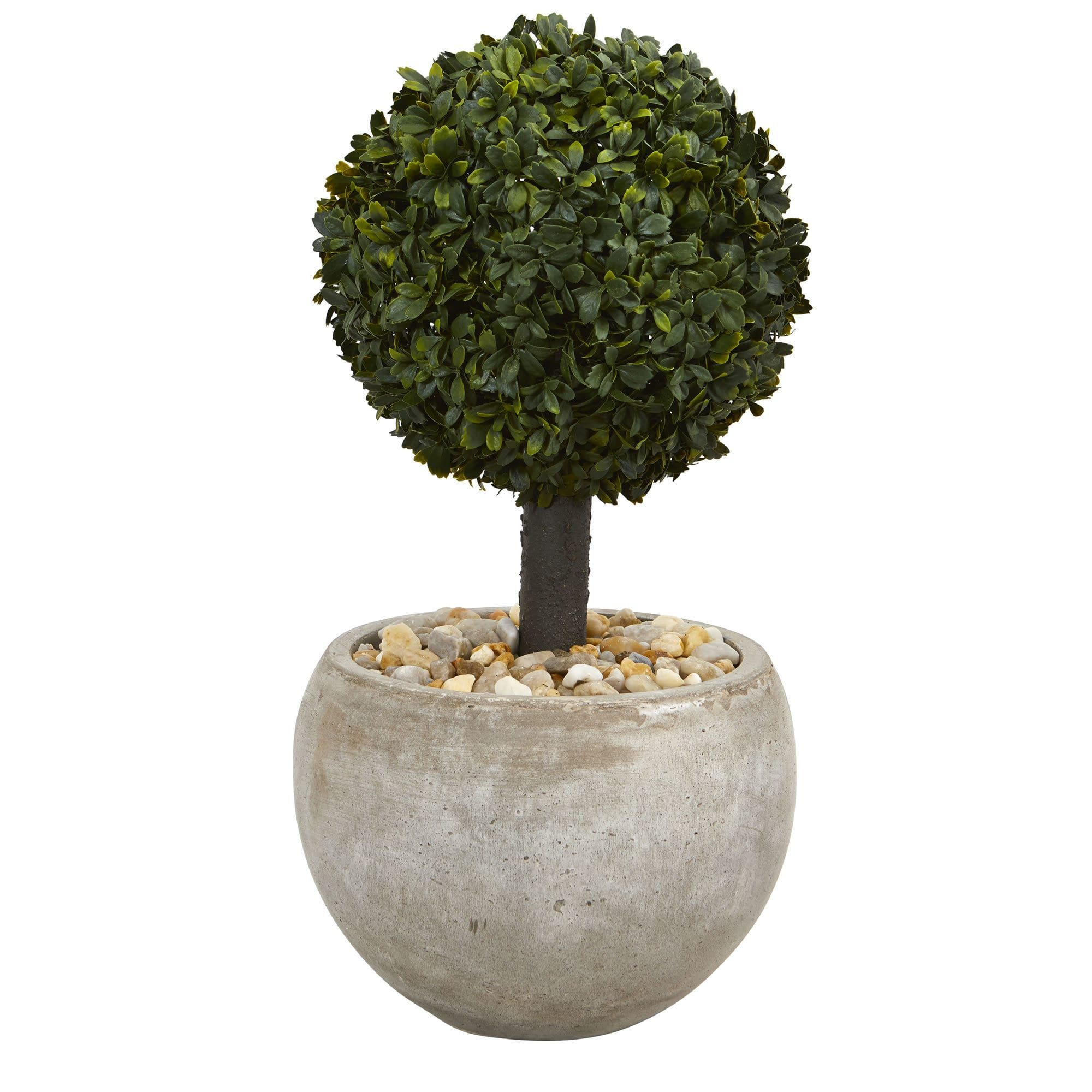 Nearly natural u boxwood topiary artificial tree in sand colored