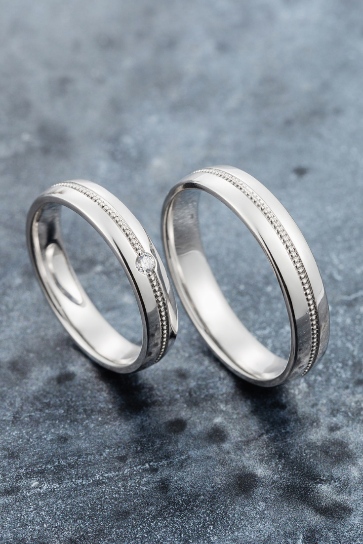 White Gold Wedding Bands With Milgrain Details Matching Etsy In 2021 Milgrain Wedding Ring Couple Wedding Rings Diamond Wedding Bands