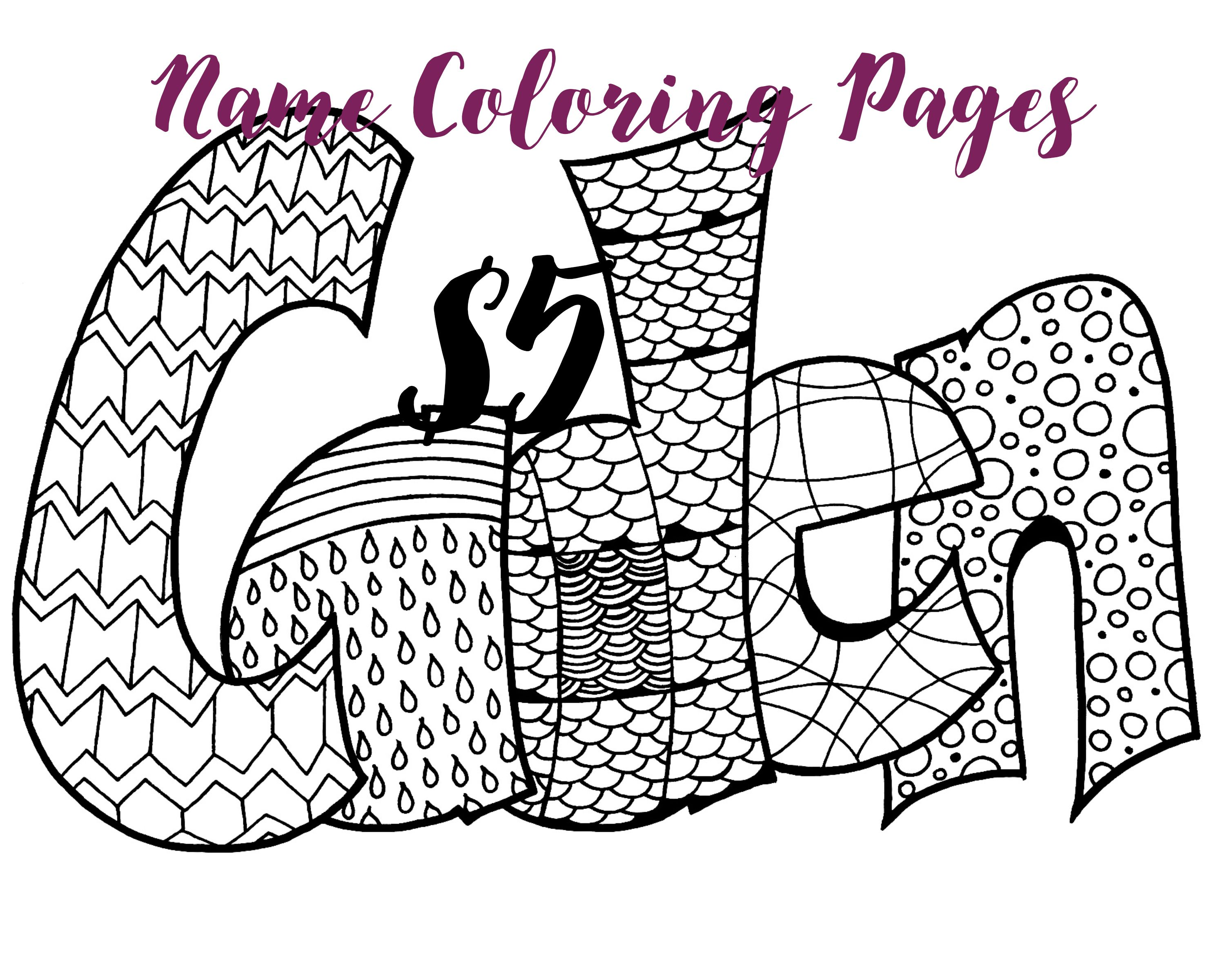 Any Name 5 Printable Coloring Pages