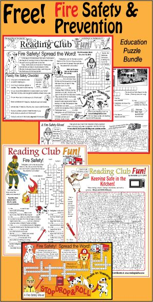Printable Fire Safety Puzzles Two Part Themed Activity Page Set And
